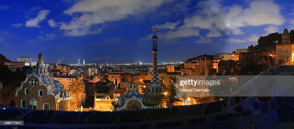 Panorama of Barcelona from Park Güell at night : Stock Photo