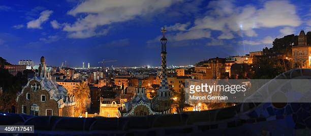 Panorama of Barcelona from Park Güell at night