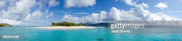 Panorama of beach, Sandy Spit, British Virgin Islands, UK