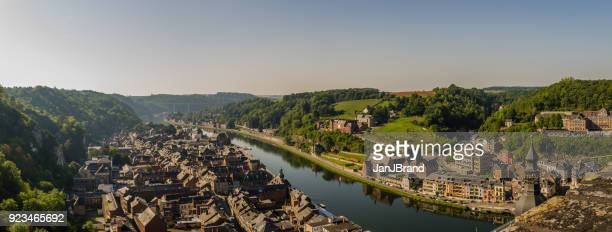 panorama of beautiful city of dinant in belgium - meuse river stock photos and pictures