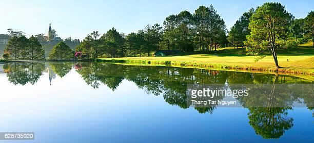 Panorama of beautiful lake with nice reflection