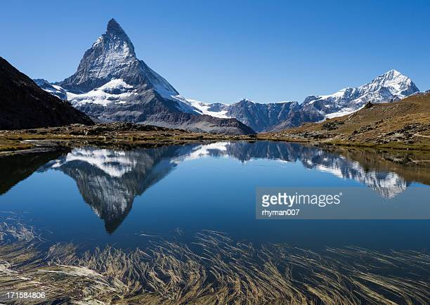 Panorama of beautiful Matterhorn and reflection in a lake