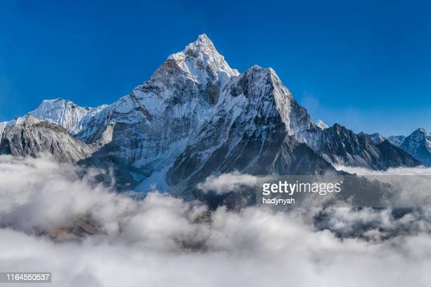 panorama of beautiful  mount ama dablam in  himalayas, nepal - mountain stock pictures, royalty-free photos & images