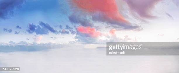 Panorama of beautiful sky and clouds at sunset time.