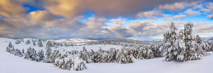 Panorama of beautiful sunset in the winter mountains - gettyimageskorea