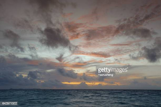 panorama of beautiful sunset on the ocean - seascape stock pictures, royalty-free photos & images