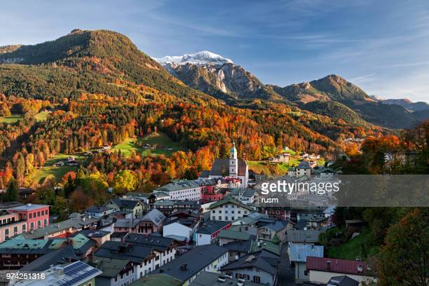 Panorama of Berchtesgaden old town in autumn, Germany