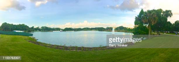 panorama of big lake in city park, new orleans - new orleans city park stock pictures, royalty-free photos & images
