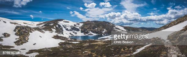 Panorama of blue lake in the Australian Alps