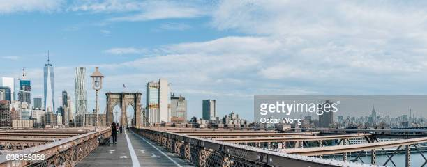 Panorama of Brooklyn Bridge against New York cityscape
