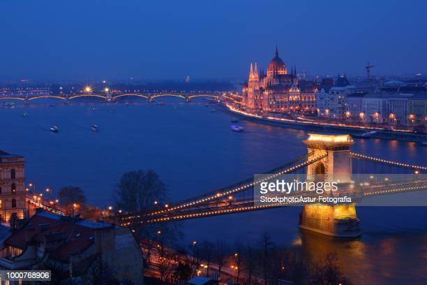 Panorama of Budapest, Hungary, with the Chain Bridge and the Parliament.