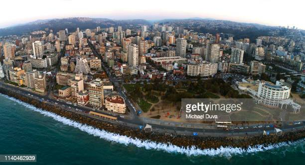 panorama of buildings and skyline aerial view - vina del mar stock pictures, royalty-free photos & images