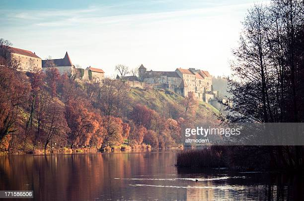 panorama of burghausen - altötting stock photos and pictures