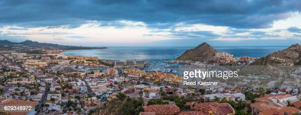 panorama of cabo san lucas harbor from an elevated angle in the morning. - dolphin fish stock pictures, royalty-free photos & images