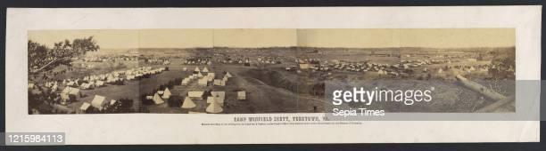 Panorama of Camp Winfield Scott Yorktown Virginia 1863 Albumen silver prints from glass negatives Image 3 5/16 _ 18 13/16 in Photographs Alexander...