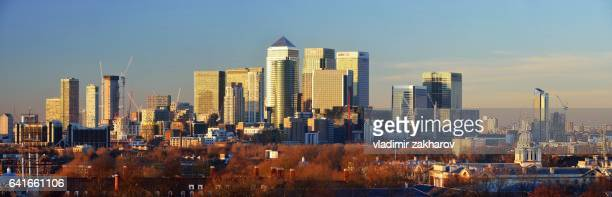 Panorama of Canary Wharf and Greenwich at sunset