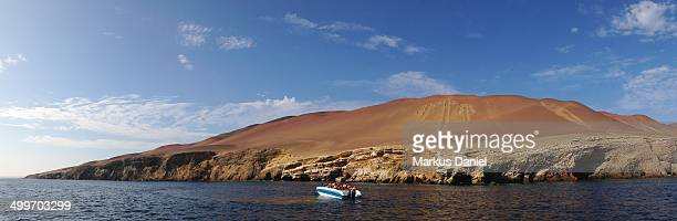 panorama of candelabrum figure in paracas. - markus daniel stock pictures, royalty-free photos & images