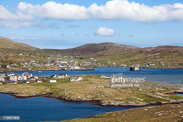 panorama of castlebay, barra, outer hebrides - barra scotland stock pictures, royalty-free photos & images