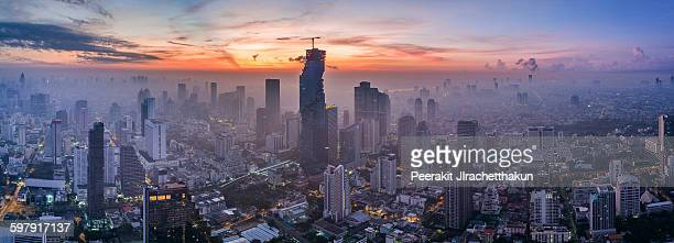 Panorama of central Bangkok city & Mahanakhon