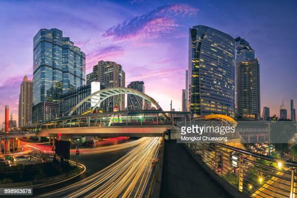 panorama of chong nonsi, sathorn business district at bangkok bts sky train station - バンコク・スカイトレイン ストックフォトと画像