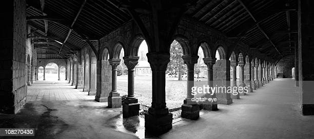 Panorama of Church Cloister, Black and White