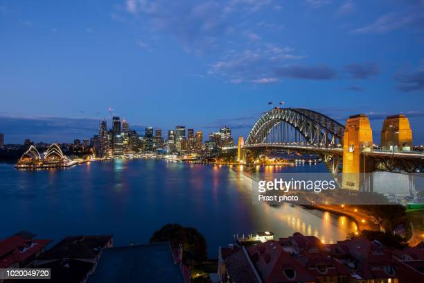 Panorama of Cityscape image of Sydney, Australia with Harbour Bridge and Sydney skyline at night.