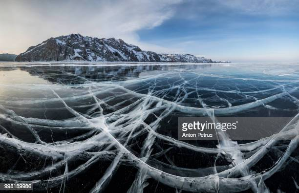 Panorama of clear ice on Lake Baikal, winter