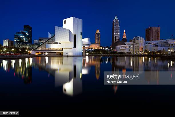 panorama of cleveland - cleveland ohio stock pictures, royalty-free photos & images