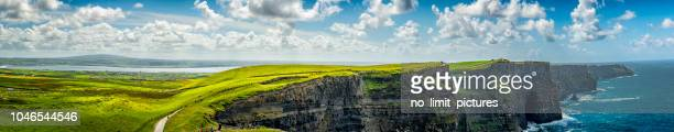 panorama of cliffs of moher in ireland - ireland stock pictures, royalty-free photos & images