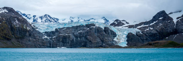 Panorama Of Cliffs With Waterfall And Glacier