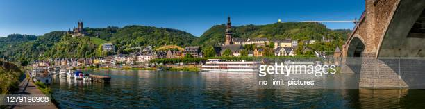 panorama of cochem at mosel river in germany - moselle stock pictures, royalty-free photos & images