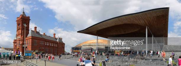 Panorama of crowds of people visiting Eisteddfod week in Cardiff Bay 2018