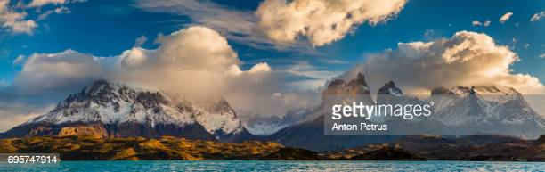 panorama of dawn in torres del paine, chile - anton petrus panorama of beautiful sunrise stock pictures, royalty-free photos & images