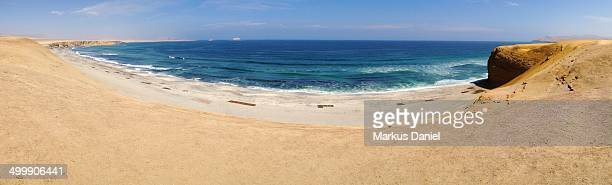 """panorama of desert and a beach in paracas peninsul - """"markus daniel"""" stock pictures, royalty-free photos & images"""