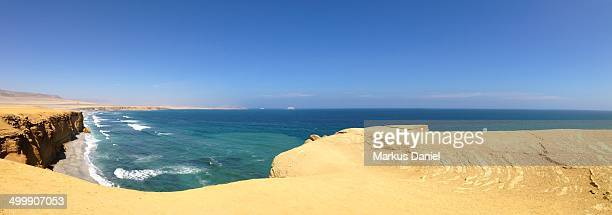 "panorama of desert and coast in paracas peninsula - ""markus daniel"" stock pictures, royalty-free photos & images"