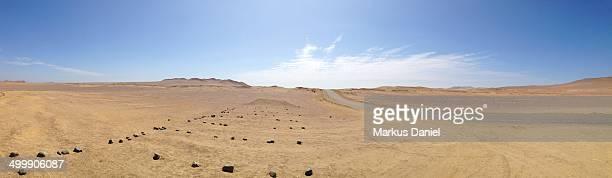 Panorama of Desert and Salt Road Paracas Peninsula