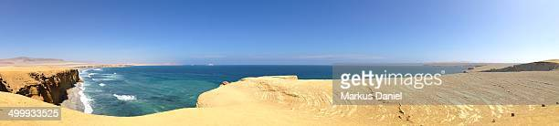 "panorama of desert coast in paracas peninsula - ""markus daniel"" stock pictures, royalty-free photos & images"