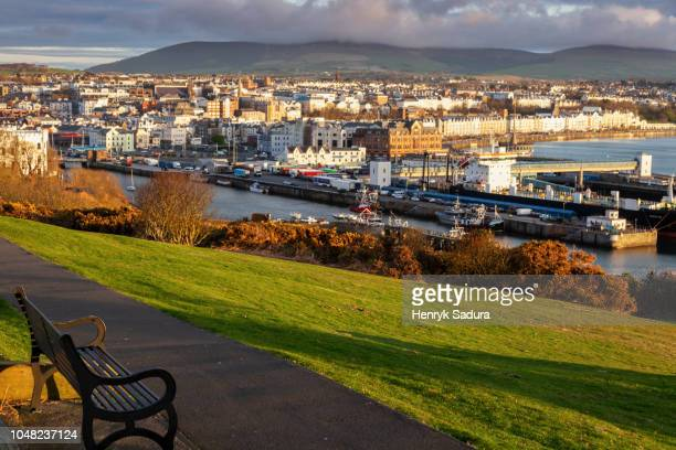 panorama of douglas on the isle of man - capital cities stock pictures, royalty-free photos & images
