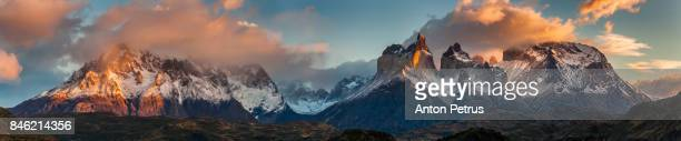 panorama of dramatic dawn in torres del paine, chile - anton petrus panorama of beautiful sunrise stock pictures, royalty-free photos & images