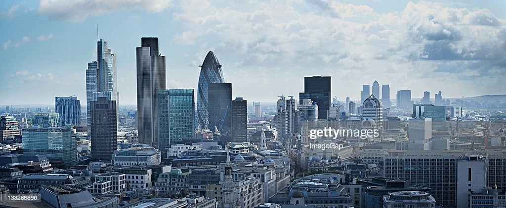 Panorama of financial district in London, England : Stock Photo