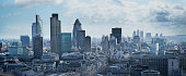 Panorama of financial district in London, England