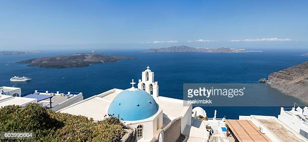 Panorama of Fira church in Santorini island of Greece