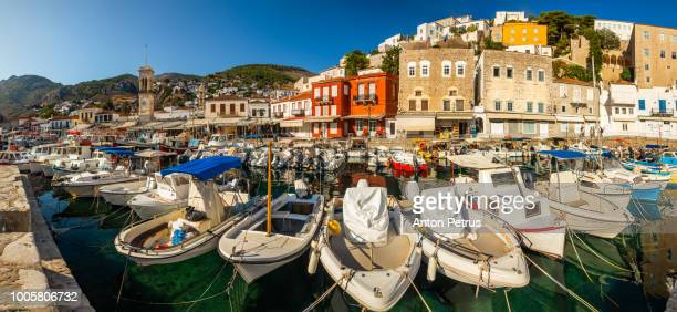 Panorama of fishing boats on Hydra island, Greece
