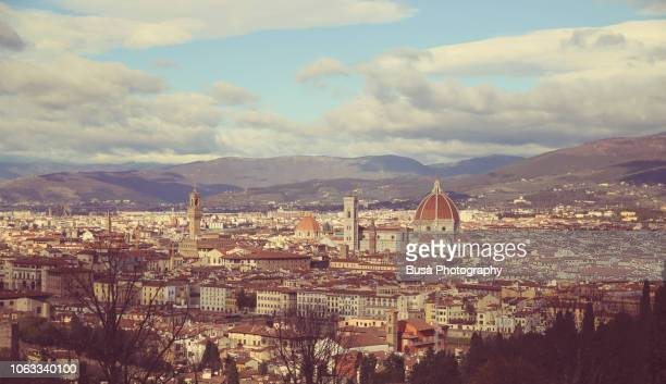 panorama of florence as seen from the hill of san miniato's church - san miniato stock pictures, royalty-free photos & images