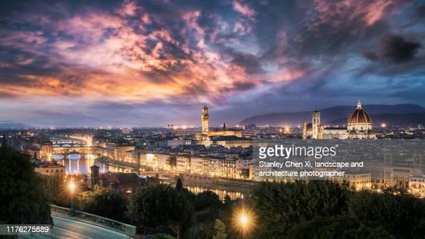panorama of florence - renacimiento fotografías e imágenes de stock