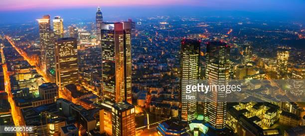 Panorama of Frankfurt Skyline Illuminated at Dusk, Germany