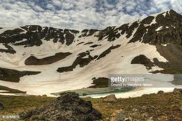 Panorama of Frozen Mountain Lake