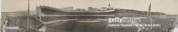 A panorama of Game 1 of the World Series game between the Boston Red Sox and the New York Giants on October 8 1912 at the Polo Grounds in New York...