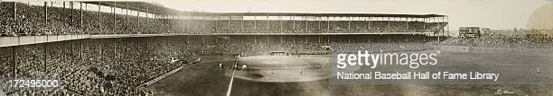 A panorama of Game 4 of the World Series between the New York Giants and St Louis Cardinals at Sportsman's Park on October 6 1926 in St Louis Missouri