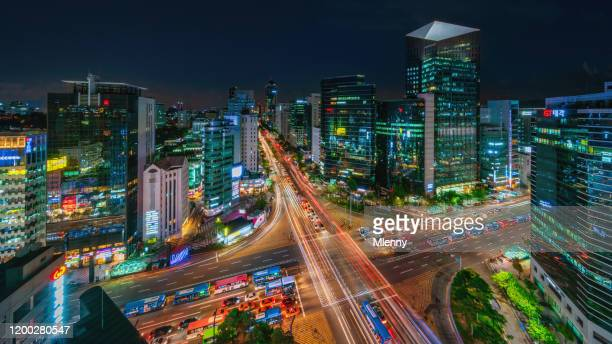panorama of gangnam city at night seoul, south korea - korea stock pictures, royalty-free photos & images